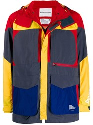 White Mountaineering Contrast Panel Hooded Jacket Blue