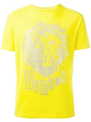 Versus Lion Metallic Print T Shirt Yellow Orange
