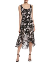 Carmen Marc Valvo High Low Floral Embroidered Lace Gown Pink