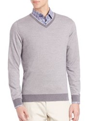 Saks Fifth Avenue Merino Wool Long Sleeve Sweater Tan Grey Blue