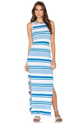 Bobi Runway Stripe Side Slit Maxi Dress White