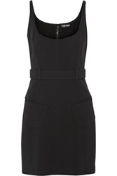 Tom Ford Belted Stretch Cady Mini Dress Black