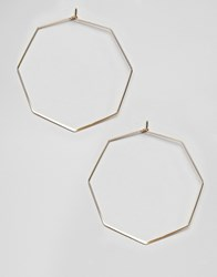 Ny Lon Nylon Octagonal Hoop Earrings Gold
