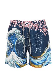 Mc2 Saint Barth Printed Wave Light Tech Swim Shorts Blue