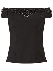 Adrianna Papell Taffeta Off Shoulder Top Black