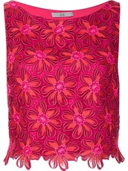 Zac Posen Embroidered Flower Tank Top Pink Purple