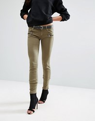 Replay Biker Jeans With Zip Detail 334 Khaki Green