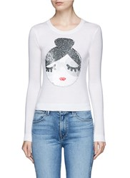 Alice Olivia 'Peekaboo' Sequin Stace Face Wool Sweater White