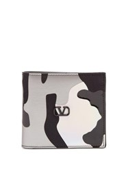 Valentino Holographic Camouflage Canvas And Leather Wallet Camouflage