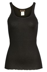 Rosemunde Women's Silk And Cotton Ribbed Tank Black