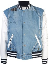 Greg Lauren Contrast Sleeve Jacket Blue