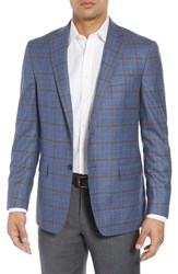 Hart Schaffner Marx Big And Tall Classic Fit Plaid Wool And Silk Sport Coat Medium Blue