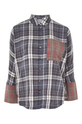 Topshop Washed Mix And Match Shirt Navy Blue