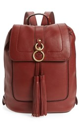 Cole Haan Cassidy Rfid Pebbled Leather Backpack Brown Fired Brick