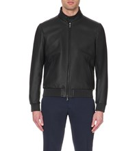 Brioni Grained Leather Jacket Midnight