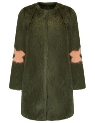 Shrimps Olive Faux Fur Kylie Coat Green