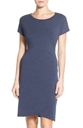 Petite Women's Caslon 'Growover' Jersey T Shirt Dress Navy Grey Stripe