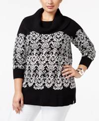 Charter Club Plus Size Damask Cowl Neck Sweater Only At Macy's Vintage Cream Combo