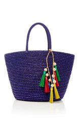 Sensi Studio Medium Tassel Straw Tote Blue