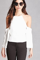 Forever 21 Zippered Open Shoulder Top White