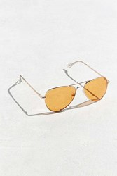 Urban Outfitters Orange Knoxville Aviator Sunglasses Gold