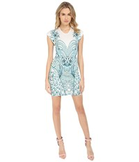 Just Cavalli Fitted Printed Jersey Short Sleeve Dress Peacock Print White Women's Dress