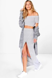 Boohoo Stripe Off The Shoulder Crop Maxi Co Ord Multi