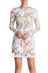 Dress The Population Women's 'Grace' Sequin Lace Long Sleeve Shift White Nude