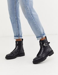 Pimkie Lace Front Chunky Sole Boots In Black