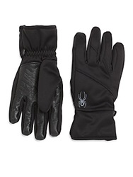 Spyder Leather Trim Knit Gloves Black