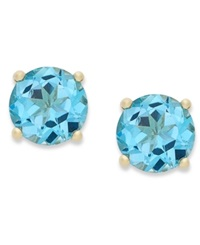 Victoria Townsend 18K Gold Over Sterling Sterling Earrings December's Birthstone Swiss Blue Topaz Stud Earrings 2 Ct. T.W. None