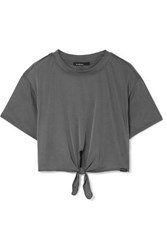 Koral Crystal Marlow Cropped Tie Front Ribbed Modal Blend Jersey Top Dark Gray