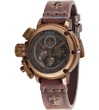 U Boat 8096 Chimera Net Leather Strap Watch Bronze