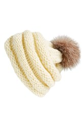 Women's Dena Genuine Fox Fur Pompom Knit Beanie Ivory