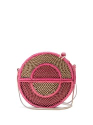 Sophie Anderson Nilsa Circle Toquilla Straw Cross Body Bag Pink Multi