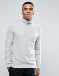 New Look Roll Neck Jumper In Silver Grey Silver