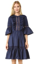 Temperley London Morganne Cotton Dress Admiral Blue