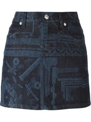 Versus Printed Short Denim Skirt Blue