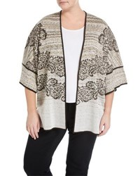 Ming Wang 3 4 Sleeve Scroll Knit Jacket Brown