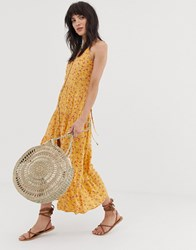 Band Of Gypsies Button Front Tiered Maxi Dress In Yellowfloral Print