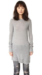 R 13 Distressed Cashmere Sweater Heather Grey