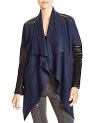 Blanknyc Drape Front Faux Leather Trim Cardigan Navy
