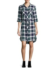 Beach Lunch Lounge Simon Long Sleeve Plaid Shirtdress Navy Green