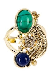 House Of Harlow Arremon Feather Ring Size 6 Blue