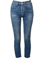 Re Done High Waisted Skinny Jeans Blue