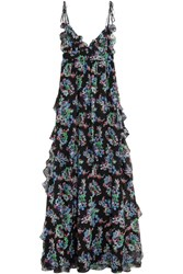 Msgm Ruffled Floral Print Silk Chiffon Maxi Dress Black