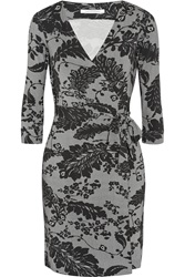 Diane Von Furstenberg New Julian Two Floral Print Stretch Jersey Wrap Dress Gray