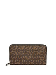 Givenchy Star Print Zip Around Leather Wallet Brown Multi