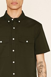 Forever 21 Flap Pocket Cotton Shirt
