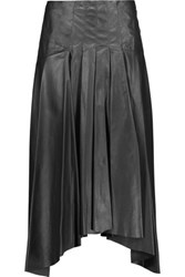 Vionnet Pleated Leather Midi Skirt Black